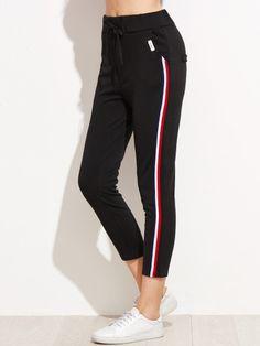Pantalones con rayas laterales-Sheinside