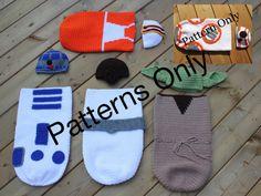 Trendy Ideas For Crochet Patterns Baby Boy Star Wars Baby Boy Knitting Patterns, Baby Hat Patterns, Crochet Patterns, Crochet Ideas, Star Wars Crochet, Crochet Stars, Beginner Knit Scarf, Crochet Baby Beanie, Crochet Cocoon