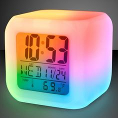 The Light Up Color Change LED Digital Alarm Clock makes a cool novelty gift! This mood lit clock transitions from color to color, shows the time, date, has an alarm and even shows the temperature! Color Change LED Digital Alarm Clock is an all-in-one cloc Cute Alarm Clock, Led Alarm Clock, Digital Alarm Clock, Travel Alarm Clock, Alarm Clocks For Kids, Cool Digital Clocks, Cute Room Decor, Teen Room Decor, Room Ideas Bedroom