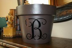 Monogrammed clay pot