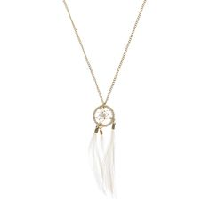 White and Gold Feather Dreamcatcher Necklace, Holiday Jewellery, Necklaces, all, Jewellery, Inspire Me..., Pendant, Necklaces, Holiday Shop, Festival Jewellery, Festival, Sale, Necklaces, View All... Fashion trends, accessories and jewellery for young women