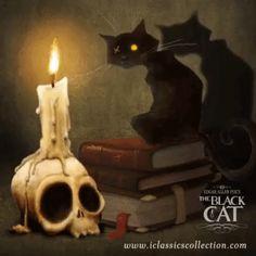 The Black Cat iclassicscollection Edgar Allen Poe, Edgar Allan, Witch Art, Painted Rocks, Gothic, Horror, Lion Sculpture, Statue, Halloween