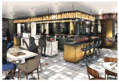 PRESSROOM all day dining amsterdam, hotspot amsterdam Drawing Interior, Interior Design Sketches, Interior Rendering, Cafe Interior, Interior Architecture, Interior Door Trim, Interior And Exterior, Shop Interiors, Rustic Interiors