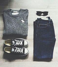 ♡ Black Chucks + Blue Jeans + Sweater + Black shades = Officially Closet