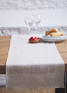 Blarney Irish Linen Natural Chambray Table Runners - available in 2 sizes. Irish Design, Elegant Table, Butcher Block Cutting Board, Table Runners, Chambray, Table Settings, Natural, Tableware, Home Decor