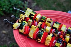 Zucchini and Summer Squash Kebabs - Dad Cooks Dinner