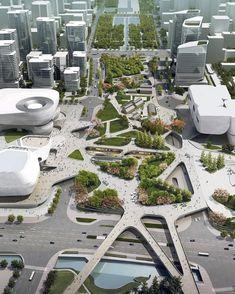 New urban landscape architecture design Ideas Landscape Architecture Design, Futuristic Architecture, Amazing Architecture, Masterplan Architecture, Architecture Diagrams, Architecture Quotes, Architecture Board, Architecture Graphics, Landscape Architects