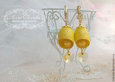 Купить Серьги из коконов шелкопряда лимонные - лимонный, серьги, серьги ручной работы, кокон