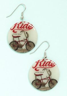 Highways and Bikeways Earrings. Coast down the road on your two-wheeler as these vintage-inspired, bike-themed earrings flutter in the afternoon breeze. #creamNaN