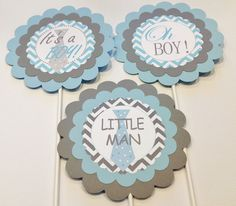 3 Centerpieces or Cake Toppers - Mustache Bash Little Man Baby Shower - Baby Blue and Gray - Party Packs Available. $12.00, via Etsy.