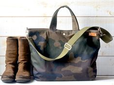 Camouflage Canvas tote Waxed canvas tote Back to school bag Messenger bag diaper bag adult bag gift for her bike bag travel bag Waxed Canvas Bag, Canvas Tote Bags, Back To School Bags, Bike Bag, Camouflage, Jeans Denim, Messenger Bag Men, Unisex, Medium Bags