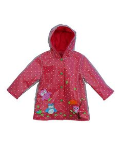Look at this #zulilyfind! Pink & Blue Owl Button-Up Raincoat - Infant, Toddler & Girls by Wippette #zulilyfinds