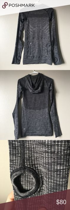Lululemon Runaway Pullover Hoodie Size 2 Excellent preowned condition with no flaws. It just doesn't fit me anymore. Has two pockets that close with zippers and thumbs holes and a hood. lululemon athletica Tops Sweatshirts & Hoodies