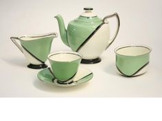 Doulton deco: De Luxe tea set by Robert Allen in Fairy shape, V1284, RA959, c1932 (pattern). Green colourway - green, black and platinum geometric design with black highlights and platinum trim. Premium range in 1930s. Classic deco!