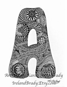 ACEO Alphabet A Letter a zentangle inspired by IrelandBrady