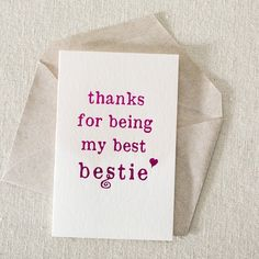 Bestie hot pink foil card from Smock