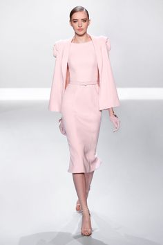 Pale pink silk wool pencil dress and cape with rosette shoulders.