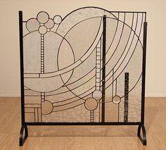Mary Lu Winger Stained Glass Fireplace Screen Modern Art Deco Eames Sledd Studio