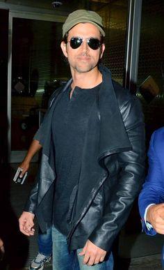 Hrithik Roshan at Mumbai airport. #Bollywood #Fashion #Style #Handsome