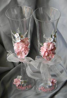 Wedding Champagne Flutes, Wedding Bottles, Wedding Glasses, Champagne Glasses, Unique Wedding Gifts, Personalized Wedding Gifts, Unique Weddings, Decorated Wine Glasses, Painted Wine Glasses