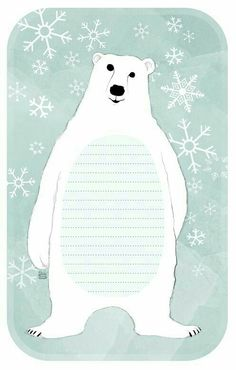 Free Printable Tags, Printable Paper, Free Printables, Free Cards To Print, Art Inuit, Free Notebook, Bear Crafts, Bear Theme, Arctic Animals