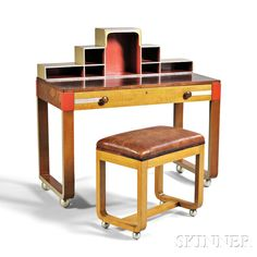 Rorimer-Brooks Art Deco Desk/Dressing Table and Stool Birch plywood, figured maple, oak, leather Cleveland, Ohio 1933 Art Deco Desk, Art Deco Furniture, Furniture Styles, Cleveland Art, Dressing Table With Stool, Dining Room Table Chairs, Man Room, Mid Century Design, Art Decor