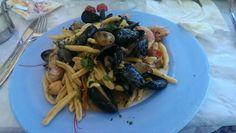 """Pasta allo scoglio......sicilian traditional pasta with seafood.......""""La Timpa"""" restaurant.....castellammare del golfo, sicily.  Absolutely LOVE La Timpa restaurant!"""