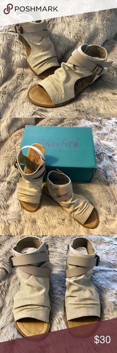 ⭐️⭐️Blowfish Balla Canvas Strappy Sandals 7.5 Brand new in box!!! So cute!! Blowfish Balla canvas sandals with strap and buckle detail. Size 7.5.  Also available in brown/tan in my closet! Blowfish Shoes Sandals