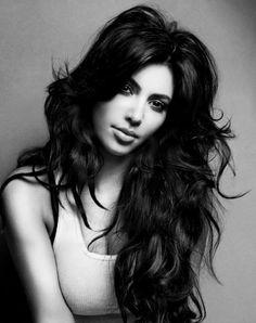 beautiful, black and white, hair, kim kardashian