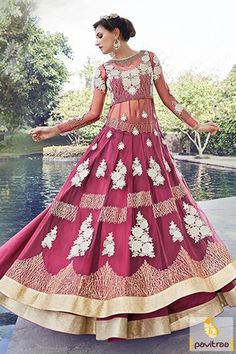 Latest new pattern transparent long jacket style dark pink color bridal anarkali in western style. Shop online new fashion wedding anarkali suit with discount price. #doublelayeranarkalisuit #designeranarkalisuit #heavyanarkalisalwarsuit #netanarkalisuit More: http://www.pavitraa.in/catalogs/indian-traditional-anarkali-dresses/?utm_source=hp&utm_medium=pinterestpost&utm_campaign=15july