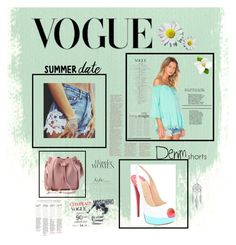 """Vogue Issue: Denim Shorts♥️"" by ordinary-fashion on Polyvore featuring moda, VAVA by Joy Han, Christian Louboutin, Moschino, Lucky Brand, jeanshorts, denimshorts ve cutoffs"