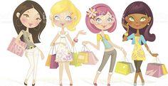 Sweet Shopping Dolls stock vector art 165725011 | iStock