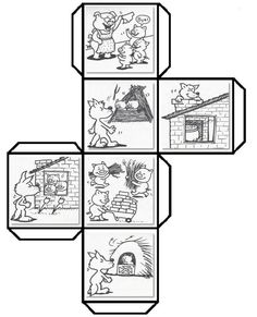 Have students color cut fold and paste to make a story cube that can be used to retell The Three Little Pigs and talk about shapes Leave a comment if you woul. Story Cubes, Teaching Resources, Activities For Kids, Story Sequencing, Traditional Tales, Three Little Pigs, 3d Shapes, Retelling, Book Crafts