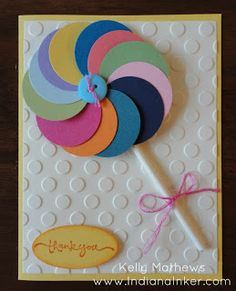 Circles and a stick! Could not be any easier to make this lollipop for a handmade thank you card!