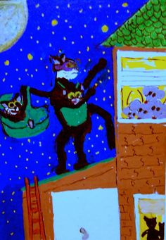 NFAC ACEO Creatures of the Night CAT BURGLAR AT WORK cats Original whimsical  #whimsical