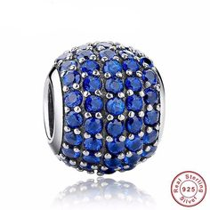 Luxury 925 Sterling Silver Pave Light Blue Crystal Ball Charm Fit Pandora Original Bracelet With Clear Cubic Zirconia Blue Crystals, Crystal Beads, Pandora Original, Fashion Bracelets, Fashion Jewelry, Pandora Style Charms, Jewelry Sets, Unique Jewelry, Jewelry Making