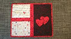 "Mug rug #4 ""Valentine's hearts"""