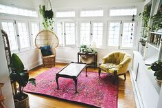 like the pink rug, possibly with emerald walls