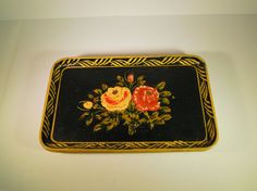 1940s Hand Painted Rose Trays Vintage Made In by TallulahsVintage
