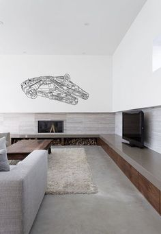Scifi art inspired by Star Wars Millennium Falcon Fighter Large vinyl wall decal kids room an dplay room cifi decor