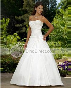 Satin Pleated Strapless Court A-Line Bridal Gown Wedding Dress