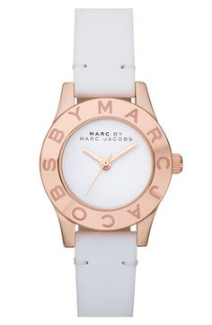 MARC BY MARC JACOBS 'Blade' Round Leather Strap Watch available at #Nordstrom