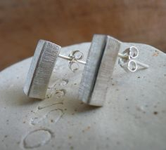 Minimalist Sterling Silver Post Earrings by Stilosissima on Etsy, $42.00