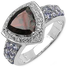Garnet,Tanzanite, and White Topaz Sterling Silver Ring Size 7
