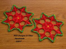 Excellent Photos Crochet coasters packaging Thoughts Poinsettia Coasters Set of 2 – Red and Green Poinsettia Crochet Doily – Abstract Poinsettias Do Swarovski Ornaments, Handmade Ornaments, Handmade Christmas, Handmade Items, Handmade Gifts, Christmas In July, Christmas Bells, Christmas Countdown, Christmas Wreaths