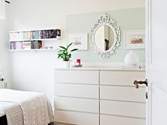 with a matching Ikea wardrobe where the shelves are and memes big mirror over the dresser and the bed sideways against the wall and this would be my DREAM ROOM Furniture, Small Bedroom Inspiration, Home Bedroom, Small Bedroom Storage, Bedroom Interior, Home Decor, Simple Bedroom, Home Roof Design, Ikea Small Bedroom