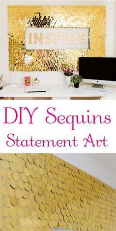 DIY Gold Sequins Wall Art