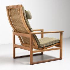 'BM2254' High Back easy chair with cane backrest by Børge Mogensen