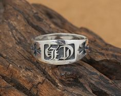S925 Sterling Silver Jewelry Retro Ring Men and women fashion ch alphabet crosshair ring [CS189] - $42.00 : Thailand Silver Jewelry- Silver Jewerly Gift Store Jewelry from Thailand
