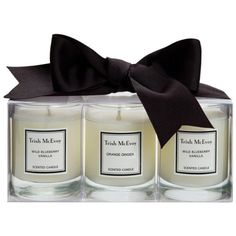 Trish Mcevoy Candle Trio ($45) ❤ liked on Polyvore featuring home, home decor, candles & candleholders, fillers, candles, backgrounds, decor, furniture, lighted candles and scented candles